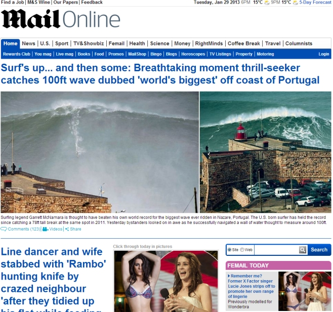 Front Cover Mail Online (England) January 29, 2013